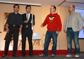 Peter Vesterbacka of Rovio and Taizo Son of Mediba/Gung Ho congratulate Brand Pit