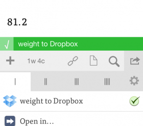 Sending weight to Dropbox file