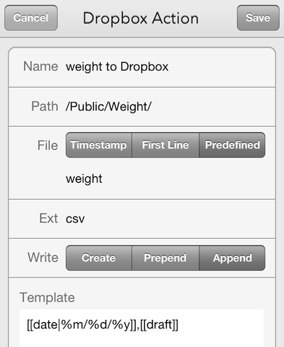 Dropbox Action Setup in Drafts