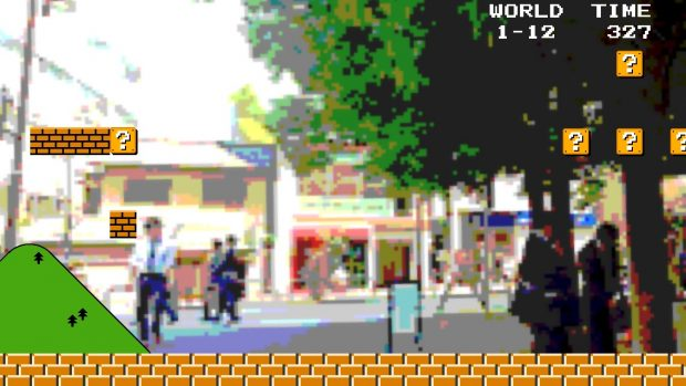 A regular street scene becomes Mario World?