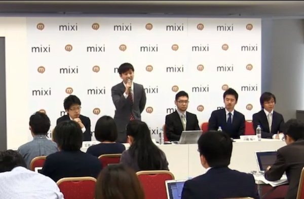 Press briefing at Mixi Headquarters (May 15th, Tokyo)