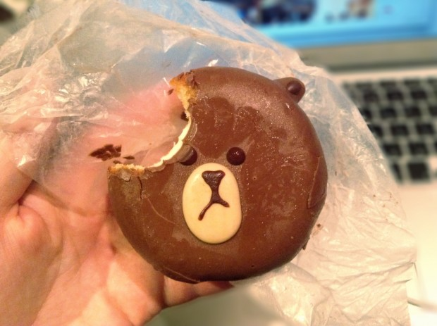 A souvenir from the show. Line character donut. I bit into his head!