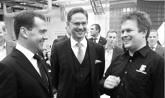 Prime Minister of Russia Dmitry Medvedev and Prime Minister of Finland Jyrki Katainen visited Startup Sauna's entrepreneurial co-working space