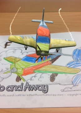 colAR app view of a colored plane