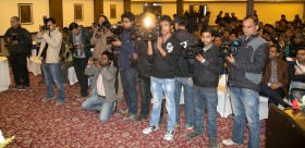 Crowded Terra Motors press conference in Kathmandu