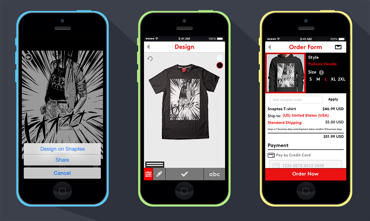Snaptee s new partner program lets third party apps create Apps to design t shirts
