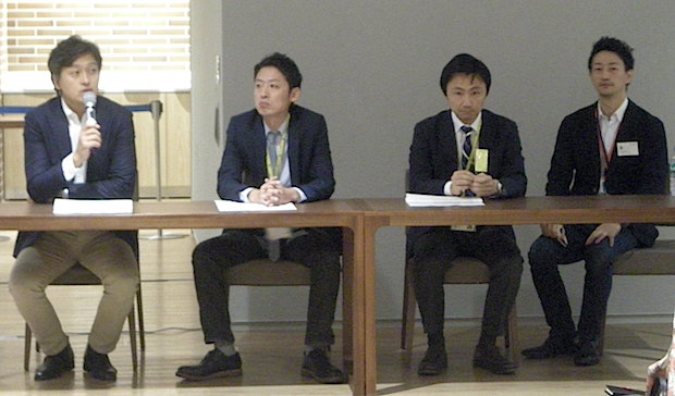 Q&A session with entrepreneurs at a briefing on Friday. L to R: T-media Holdings CEO Toru Sakurai, managing director Hiroshi Nemoto, oprating officer Shinga Sakata, IMJ Investment partners' Japan office manager Hiroshi Oka