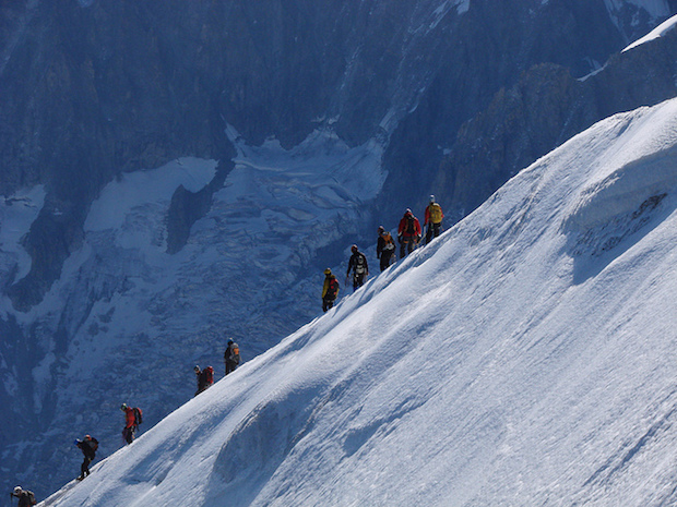 CC-licenced picture:  A line of mountaineers heading toward Mt Blanc (via Flickr by ashokboghani)