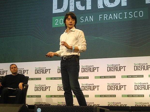 H2L CEO Kenichiro Iwasaki delivers a pitch at TechCrunch Disrupt SF 2015.