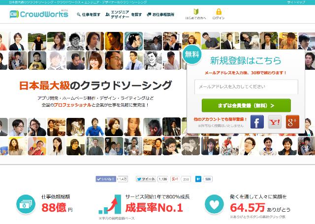 日本最大級のクラウドソーシング「クラウドワークス」