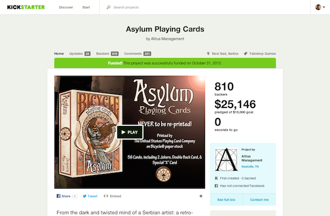 Asylum Playing Cards by Altius Management — Kickstarter