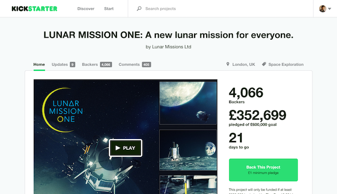 LUNAR MISSION ONE  A new lunar mission for everyone. by Lunar Missions Ltd — Kickstarter