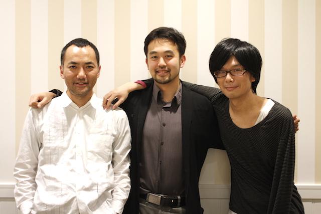 共同創業者の遠藤拓己氏(左)とドミニク・チェン氏(中)、取締役の山本興一氏