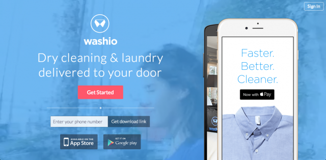 洗濯物とドライクリーニングのアウトソーシング「Washio」