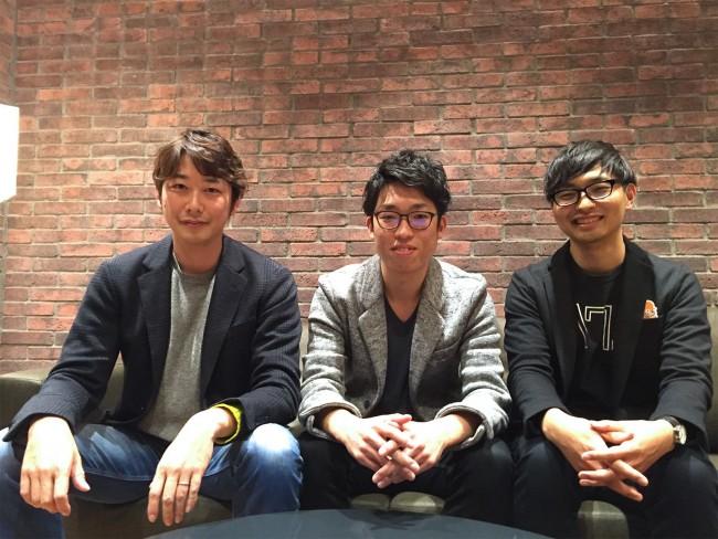 「Flat」を開発する水谷さん(左)、長井さん(中央)、三橋さん(右)