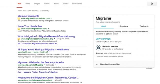 """Googleで""""migrane""""と検索した時の検索結果"""