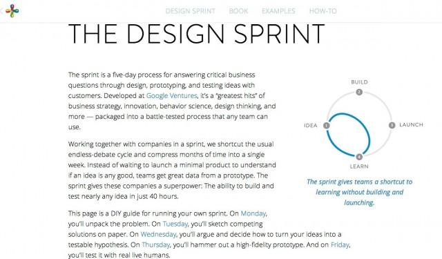 Google Venturesが開設したDesign Sprint専用ウェブサイト