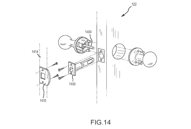 "Above: Google's smart doorknob concept, in the patent application ""Security Scoring in a Smart-Sensored Home."" Image Credit: Screen shot"