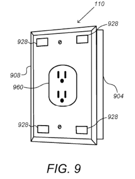 "Above: Google's smart wall plug concept, in the patent application ""Security Scoring in a Smart-Sensored Home."" Image Credit: Screen shot"