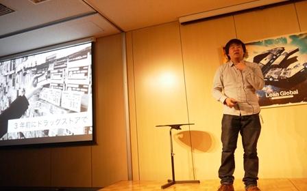 Open Network Lab 第7期デモデイでピッチするシェイカーの金亨喆氏(2013年)。(写真は Open Network Lab ウェブサイトから)