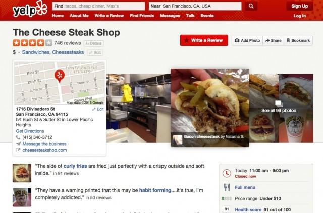 サンフランシスコの飲食店「The Cheese Steak Shop」のYelp情報。右下に衛生レベルを示す「Health Scores」が掲載されている