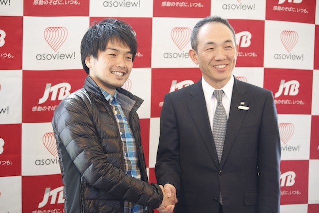 左から:アソビュー代表取締役山野智久氏、ジェイティービーグループ本社執行役員古野浩樹氏