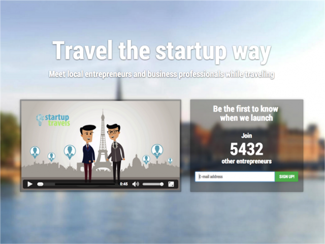 Startuptravelsがリリース前に用意したランディングページ
