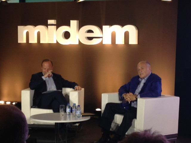 Above: Sony Music CEO Doug Morris (right), being interviewed at the Midem music and technology conference in Cannes. Image Credit: VentureBeat/Chris O'Brien
