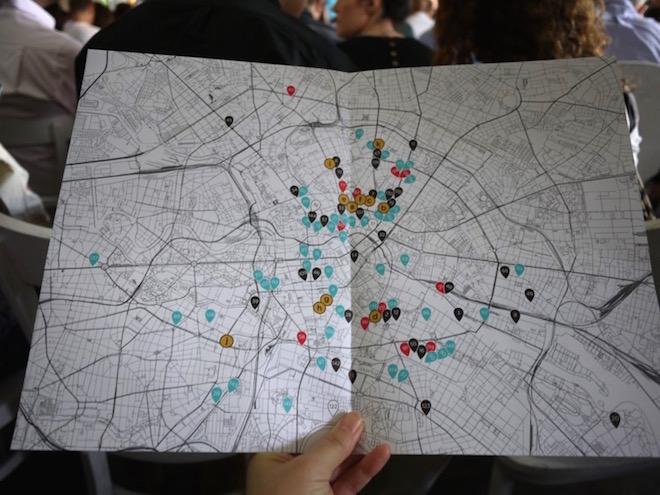 ベルリン市内の各地で開催されたサテライトイベントのマップ