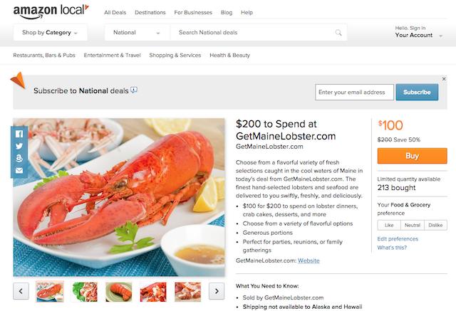 「Amazon Local」の画面
