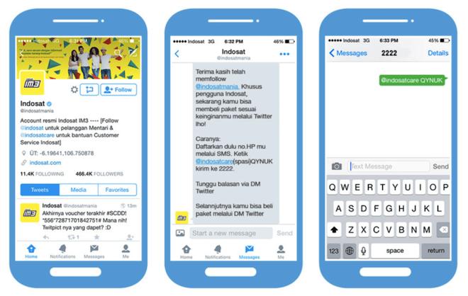 上:TwitterのDMを通してインドネシアのスマホサービスを購入できる