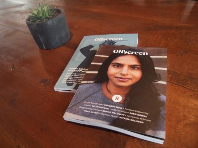 テーブルには気になってたインデペンデントな雑誌「Offscreen」、表紙の女性はFacebook初期&初の女性エンジニア