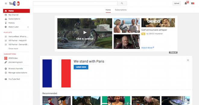 Above: YouTube's homepage. Image Credit: Screenshot