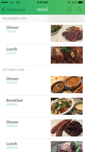 meal evernote