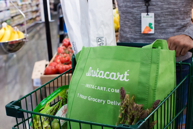 Above: An Instacart grocery bag. Image Credit: Instacart