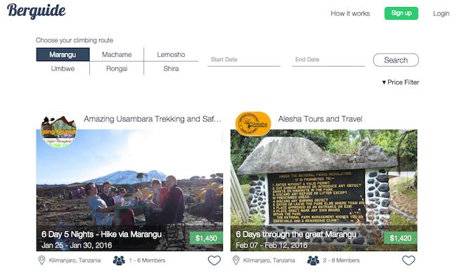 Berguideでは現在、キリマンジャロ登山の6つのルートごとに、ツアー情報を見ることができる。