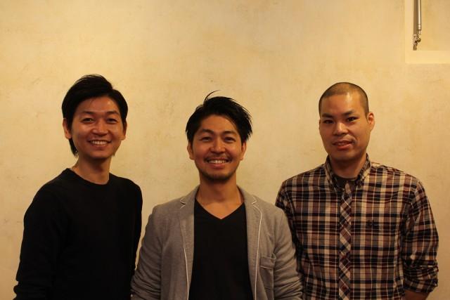 中央が柄本さん(CEO)、左が 山崎さん(取締役)、右が水澤さん(CTO)
