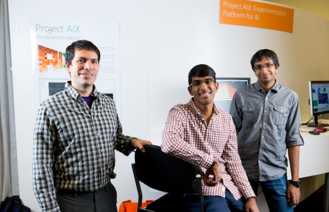 Above: Fernando Diaz, Akshay Krishnamurthy and Alekh Agarwal are using AIX for AI research. Image Credit: Scott Eklund/Red Box Pictures