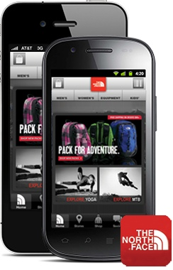 Above: The North Face's existing mobile app