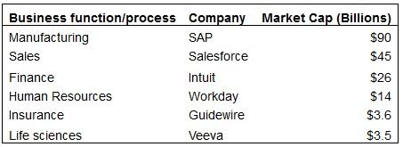 強力なSORを築いた企業:業種、企業名、時価総額(左から)