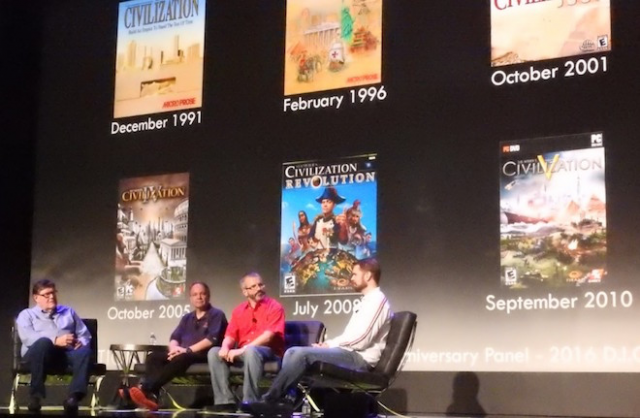Above: Civilization game designers Bruce Shelley, Sid Meier, Brian Reynolds, and Soren Johnson. Image Credit: Dean Takahashi