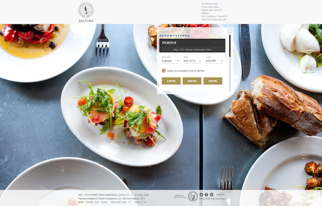 客はレストラン自身のサイトからReserveを使って予約をすることができる。 Image Credit: Reserve