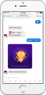 Above: Yahoo MonkeyPet bot on Facebook Messenger Image Credit: Yahoo