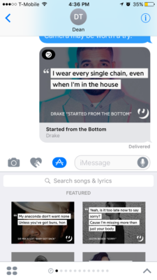 Above: Genius' iMessage app in action. Image Credit: Screenshot