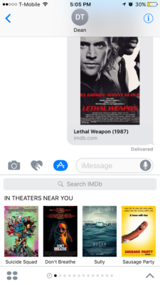 Above: IMDb's iMessage app. Image Credit: Screenshot