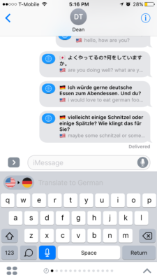 Above: iTranslate translating in iMessage. Image Credit: Screenshot