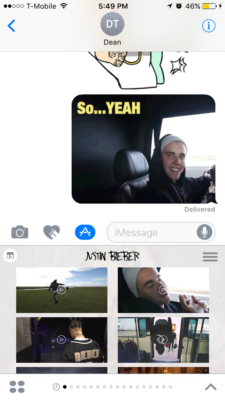 Above: Justmoji's iMessage app. Image Credit: Screenshot
