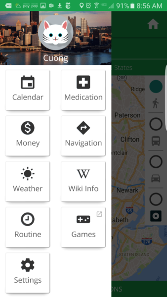 Above: Companion menu on Android