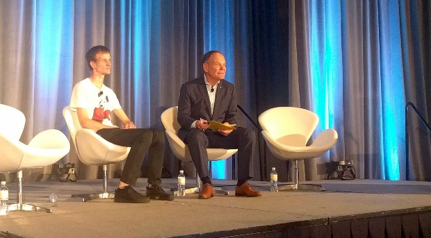 Above: Ethereum founder Vitalik Buterin on stage with author Don Tapscott at Money 20/20.
