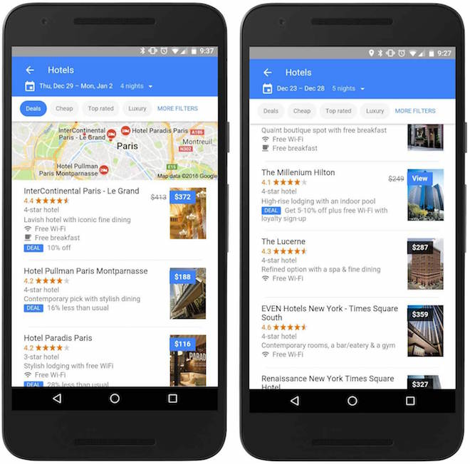 Above: Google now filters hotels by deals and lets you know if there are loyalty member discounts. Image Credit: Google
